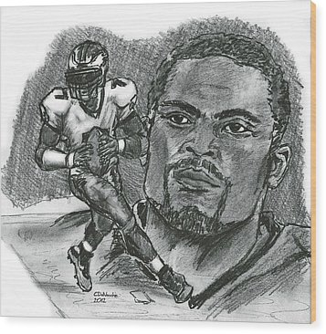Wood Print featuring the drawing Michael Vick by Chris  DelVecchio