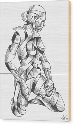 Wood Print featuring the painting Michaela - Abstract Nude Figurative Pen And Ink Drawing by Mark Webster