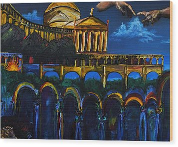 Michaelangelo Arches Vatican Wood Print by Gregory Allen Page
