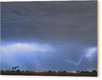 Wood Print featuring the photograph Michelangelo Lightning Strikes Oil by James BO Insogna