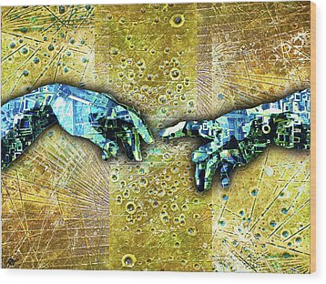 Wood Print featuring the mixed media Michelangelo's Creation Of Man by Tony Rubino