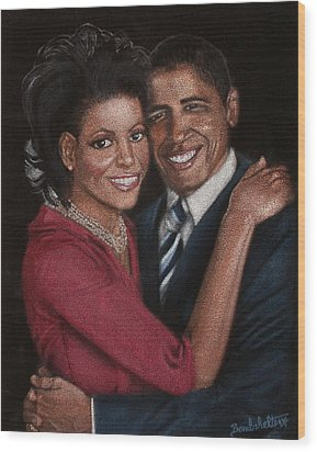 Michelle And Barack Wood Print by Diane Bombshelter