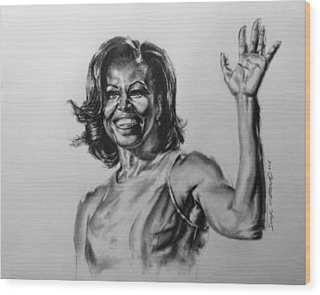 Wood Print featuring the painting  Michelle Obama  by Darryl Matthews