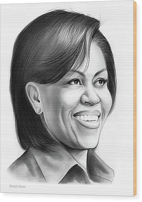 Michelle Obama Wood Print by Greg Joens