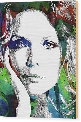 Michelle Pfeiffer Wood Print by Mihaela Pater