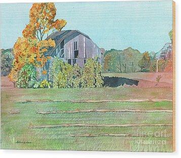 Michigan Autumn Barn Wood Print by LeAnne Sowa