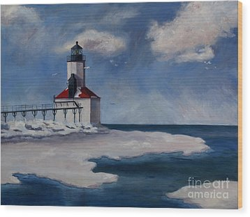 Wood Print featuring the painting Michigan City Light by Brenda Thour