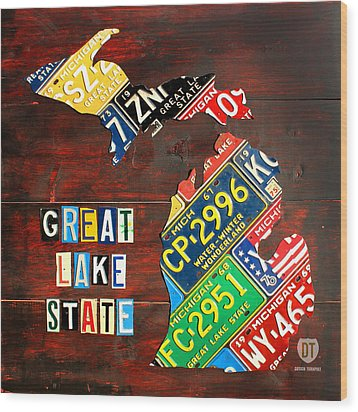 Michigan License Plate Map Wood Print by Design Turnpike