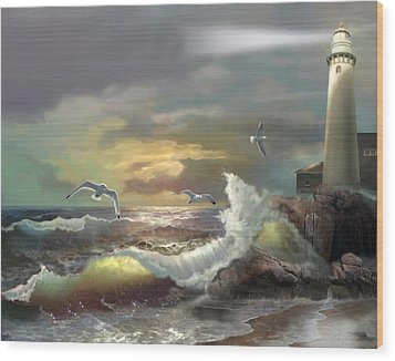 Michigan Seul Choix Point Lighthouse With An Angry Sea Wood Print