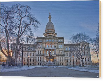 Wood Print featuring the photograph Michigan State Capitol by Nicholas Grunas