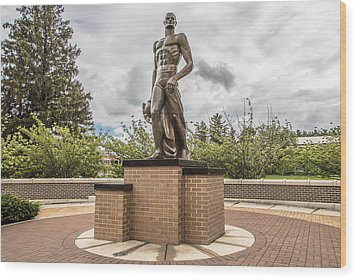 Michigan State - The Spartan Statue Wood Print by John McGraw