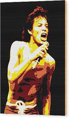 Mick Jagger Wood Print by DB Artist