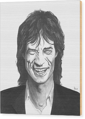 Mick Jagger Wood Print by Russell Griffenberg