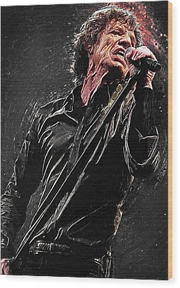 Wood Print featuring the digital art Mick Jagger by Taylan Apukovska