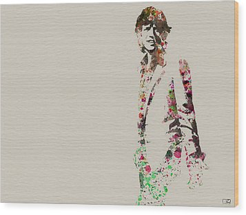 Mick Jagger Watercolor Wood Print