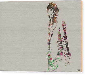 Mick Jagger Watercolor Wood Print by Naxart Studio
