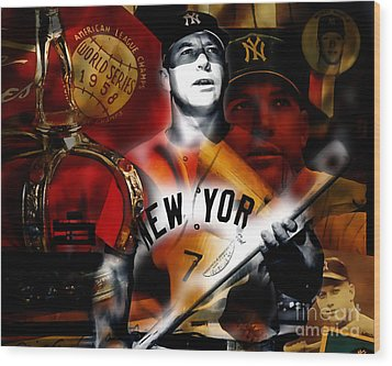 Mickey Mantle Collection Wood Print
