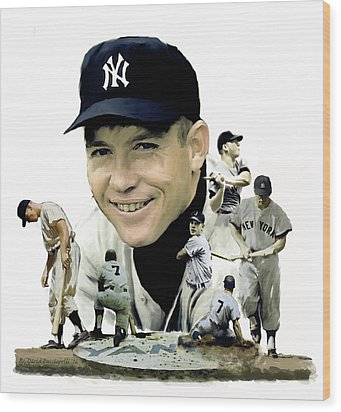 Wood Print featuring the painting Mickey Mantle Legacy, II  by Iconic Images Art Gallery David Pucciarelli