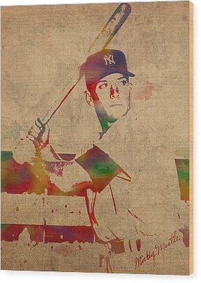 Mickey Mantle New York Yankees Baseball Player Watercolor Portrait On Distressed Worn Canvas Wood Print