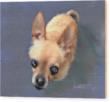 Mickey The Rescue Dog Wood Print