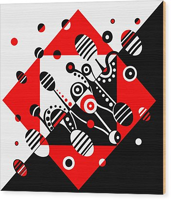 Microgravity - Red And Black Wood Print by Deyana Deco