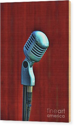 Microphone Wood Print
