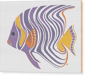 Mid Century Purple Fish Wood Print by Stephanie Troxell