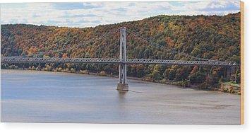 Mid Hudson Bridge In Autumn Wood Print