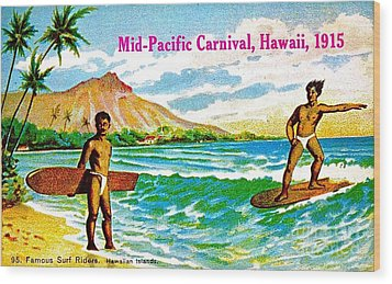 Mid Pacific Carnival Hawaii Surfing 1915 Wood Print by Peter Gumaer Ogden