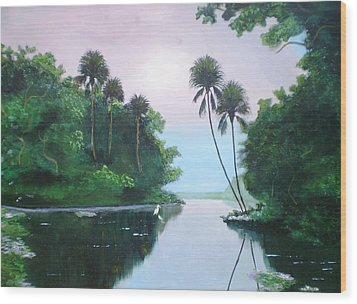 Miday Or The River Wood Print by Francis Roberts ll