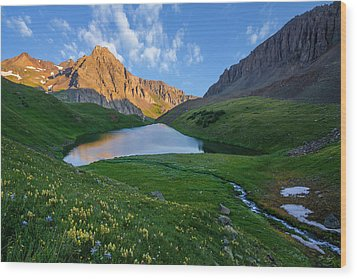 Wood Print featuring the photograph Middle Blue Lake Sunrise by Aaron Spong