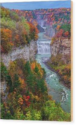 Middle Falls Of Letchworth State Park Wood Print by Mark Papke