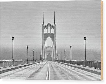 Middle Of Bridge Wood Print by Chad Latta