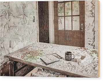 Wood Print featuring the photograph Midlife Crisis In Progress - Abandoned Asylum by Gary Heller
