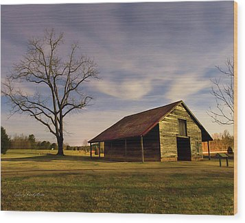 Midnight At The Mule Barn Wood Print by George Randy Bass