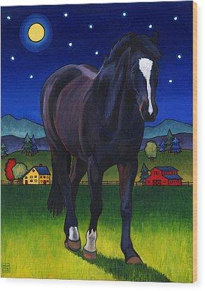 Midnight Horse Wood Print