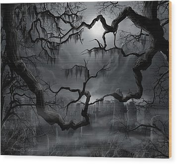 Midnight In The Graveyard II Wood Print