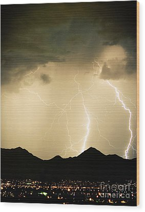 Midnight Lightning Storm Wood Print by James BO  Insogna