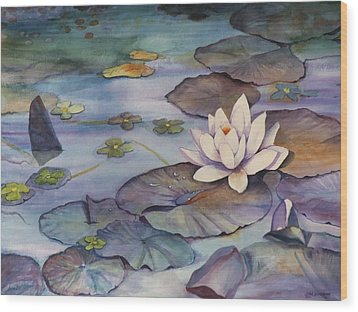 Midnight Lily Wood Print by Jun Jamosmos