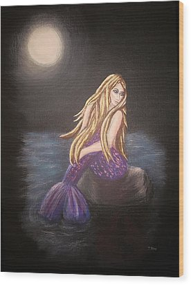 Wood Print featuring the painting Midnight Mermaid by Teresa Wing