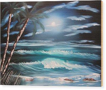 Midnight Ocean Wood Print by Sheldon Morgan