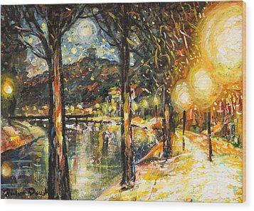 Midnight Reflections Wood Print