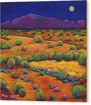 Midnight Sagebrush Wood Print