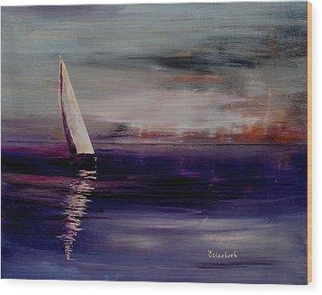 Midnight Sail Wood Print by Beth Maddox