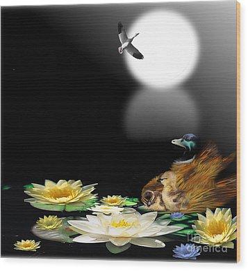 Midnight Serenity Wood Print by Belinda Threeths