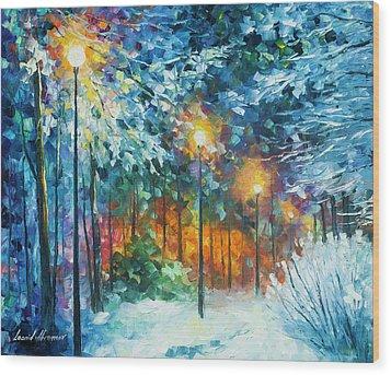 Midnight Snow Songs  Wood Print by Leonid Afremov