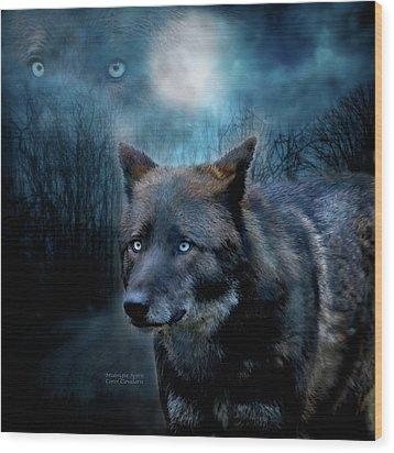 Midnight Spirit Wood Print by Carol Cavalaris