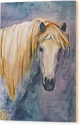 Wood Print featuring the painting Midnight Stallion by P Maure Bausch