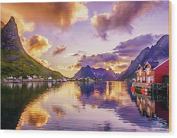 Wood Print featuring the photograph Midnight Sun Reflections In Reine by Dmytro Korol