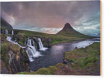 Wood Print featuring the photograph Midnight Sunset At Kirkjufellsfoss by Peter Thoeny